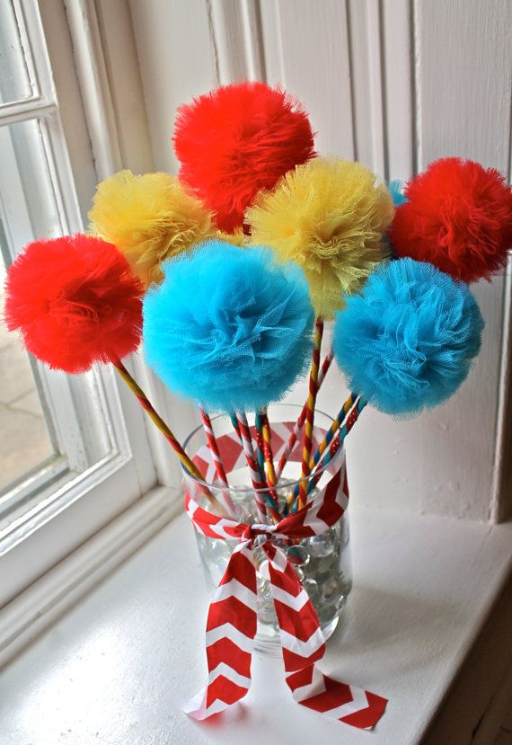 Circus, Carnival, Seuss Cat with Hat Pom Pom Wands Favors Centerpiece- Set of (10) on Etsy, $40.00