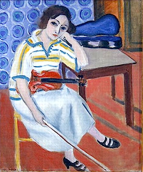 Nobody knows what is going on inside her, maybe some lover she is thinking of or just an ordinary day dreaming. That is the beauty of it. No one knows.  Woman with violin - Henri Matisse