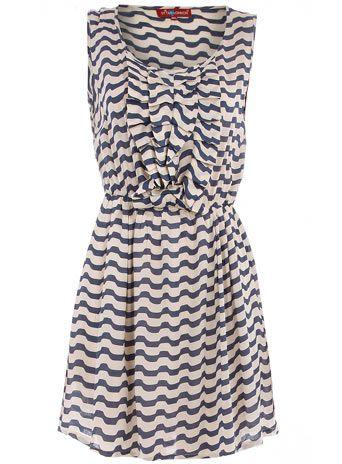 navy/cream ruffle dress
