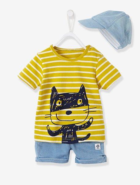 Conjunto de gorra + camiseta bordada + bermudas de felpa para bebé niño - Amarillo plátano a rayas/bajo - 1