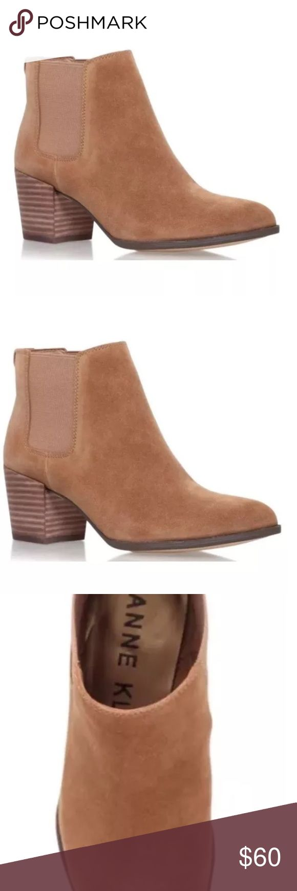 Anne Klein Geordanna  Chelsea Boot, Natural 8.5 Brand: Anne Klein Heel: 2.50 inches (6.35 CM) Material: Suede Color: Medium Natural/Medium Natural Toe-Shape: Pointed Toe Size: 8.5 US The boot shaft measures approximately 3.00 inches (7.62 CM) tall and has an opening of 8.00 inches (20.32 CM). Condition: Brand new in original box. Anne Klein Shoes Ankle Boots & Booties