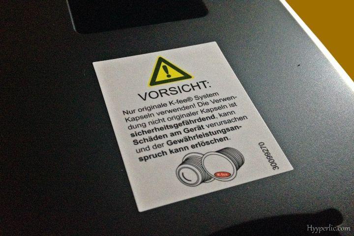 Vorsicht: Es sind nur originale K-fee Kapseln bei der EXPRESSI Kapsel-Kaffeemaschine von ALDI Süd zugelassen!