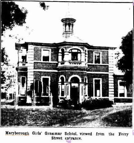 Maryborough Girl's Grammar School viewed from Ferry Street entrance, 1933