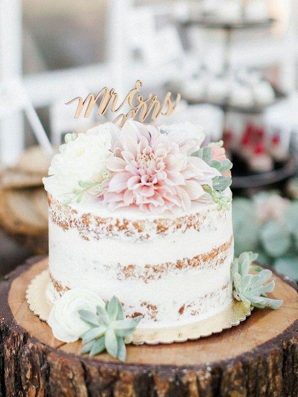 halbnackte einreihige Hochzeitstorte   – Lovely Little Weddings