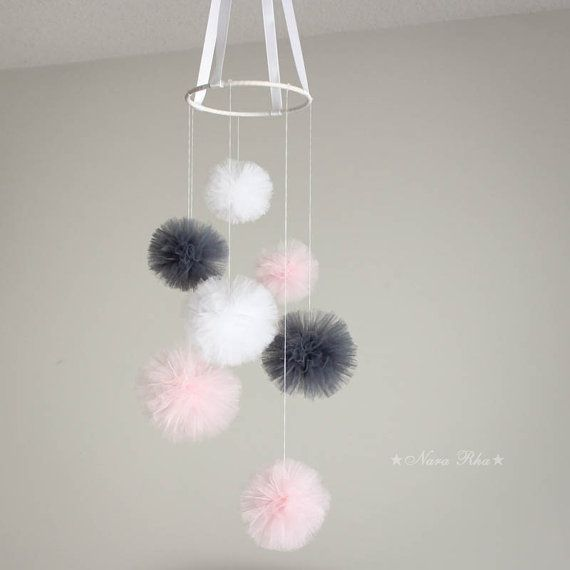 Baby Mobile - Nursery Mobile, Tulle Pom poms, Baby Mobile, Crib Mobile, Hanging Pom Poms, Nursery Decor, Design Your Own Color