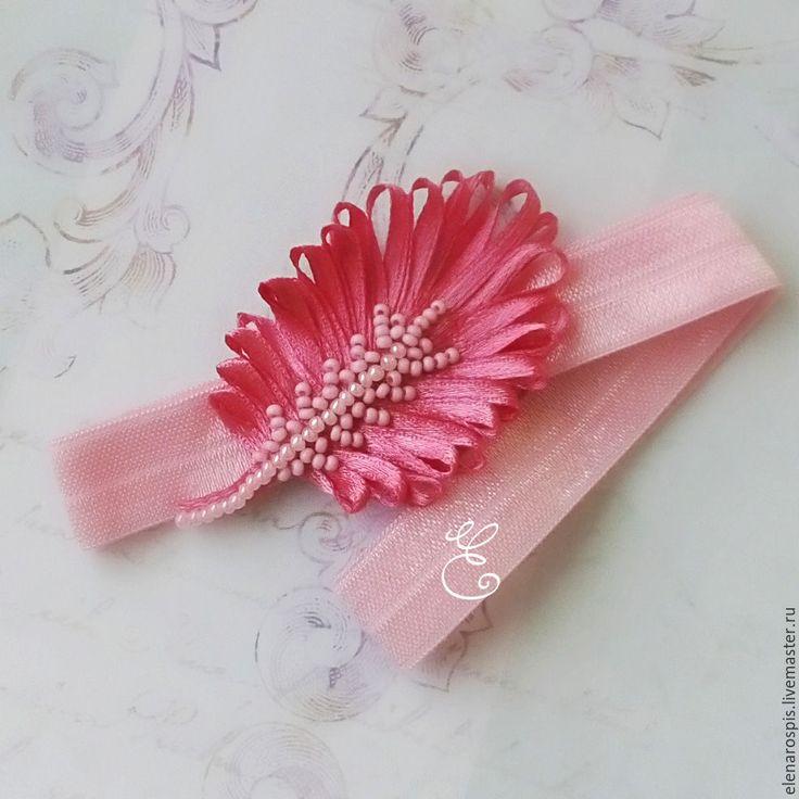 """Купить Повязка на голову """"Перышко"""" (на резинке) - розовый, ваниль, повязка на голову, повязка для девочки"""