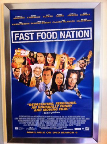 Fast Food Nation Movie Poster 27x40 Used Ethan Hawke, Avril Lavigne, Kris Kristofferson, Wilmer Valderrama, Ashley Johnson, Dana Wheeler-Nicholson, Juan Carlos Serrán, Fernando Lara, Esai Morales, Jason McDonald, Cherami Leigh, Bruce Willis