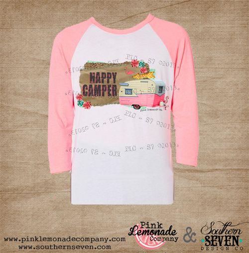Happy Camper Neon Pink Raglan T-shirt-trailer, trash, Happy, camper, t-shirt, raglan, tee, shirt, neon, pink