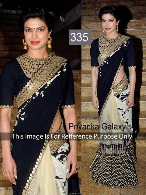 335 - Priyanka Chopra in Sabyasachi Black Saree-Clothing-BOLLYWOOD TIME