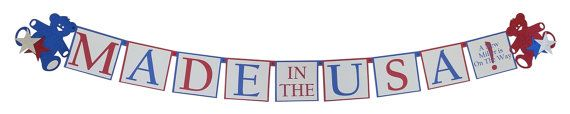 Patriotic Baby Shower Decorations for Boys - MADE IN THE USA or custom message  by SetToCelebrate