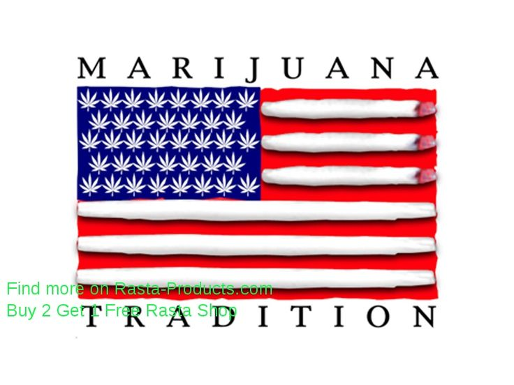 Marijuana Tradition USA Flag White Tee-Shirt | Rasta Shop Products