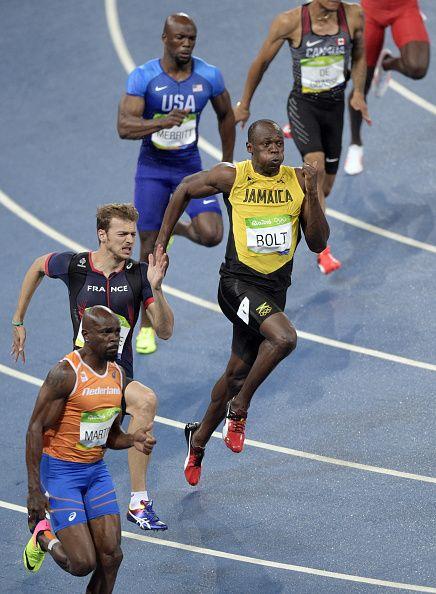 Netherlands Churandy Martina France's Christophe Lemaitre Jamaica's Usain Bolt…
