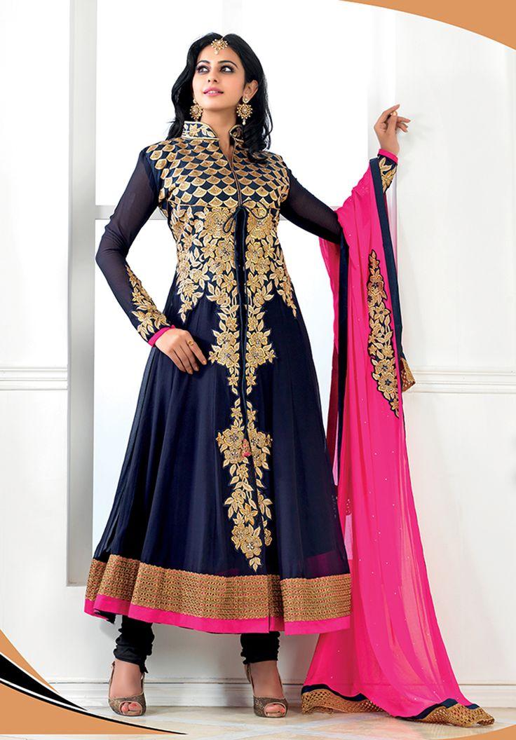 Blue & pink heavy #anarkali suit With golden work