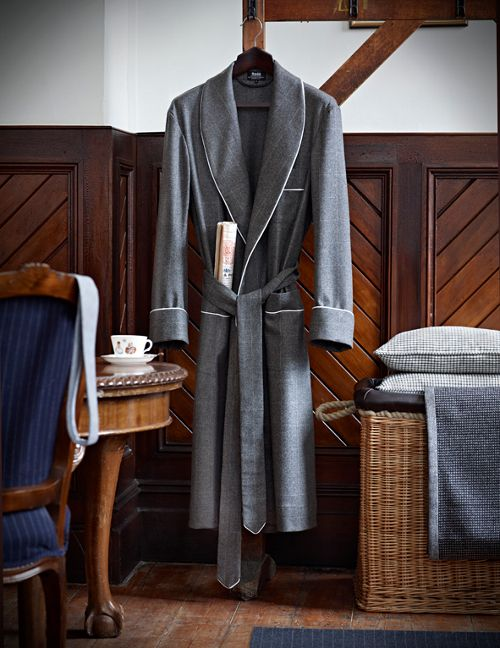 Fox Brothers Chalk Windowpane Dressing Gown, in collaboration with Budd of Mayfair.