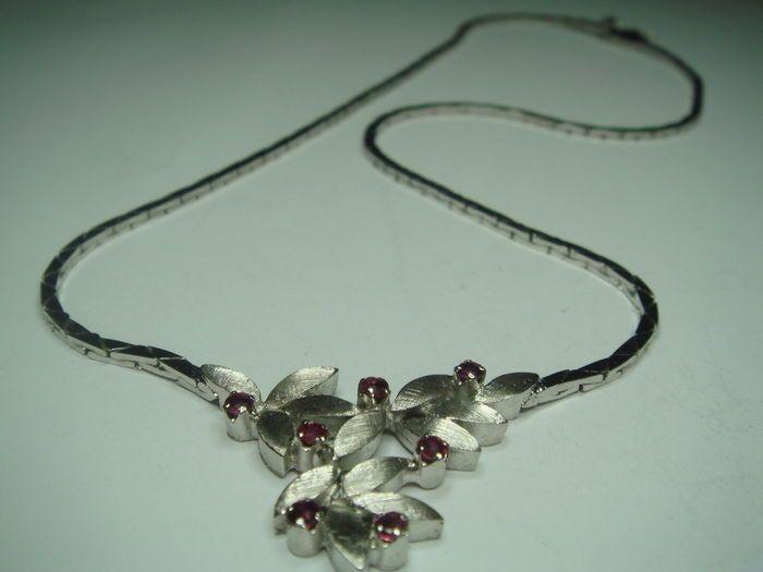 Online veilinghuis Catawiki: Vintage ketting, 835 zilver & gerhodineerd, met 7 natuurlijke robijnen, 0,35 ct