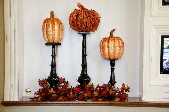 Neat fall decorating ideaFall Pumpkin, Art Decor, Decor Ideas, Autumn Fall, Christmas Doors, Candles Sticks, Candles Holders, Fall Autumn, Fall Decorations