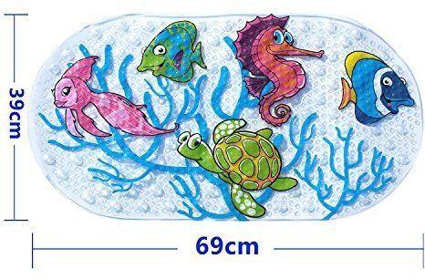 Nihoooo Baby Kids Bath Mat for Tub - Colorful Sea Non Slip Sticker Shower Mats For Bathtub/Bathroom - Durable Mildew Resistant Anti Bacterial PVC(Sea fish)