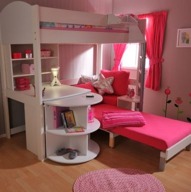 Luxury bunk beds at an angle with sofa, desk and storage #bunkbeds