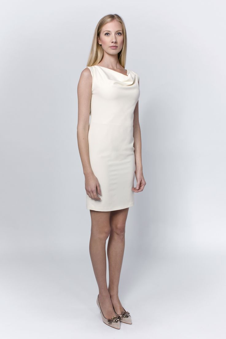 Simple in its most delicate meaning - Cream dress with dropped neckline that lets your inner beauty sparkle.