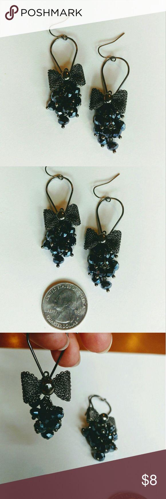 Blue Beaded And Dark Silver Bow Earrings Beautiful Pair Of Earrings,  Cluster Of Dark Blue