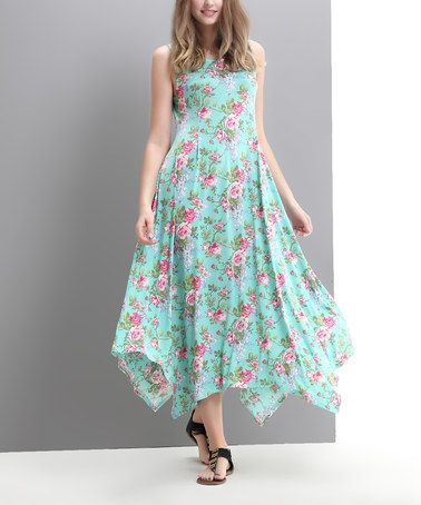 Look what I found on #zulily! Aqua English Rose Sleeveless Handkerchief Maxi Dress - Women #zulilyfinds