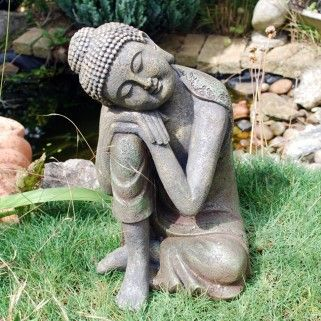 Large Stone Look Sitting Sleeping Buddha Garden Ornament. Will look lovely next to pond