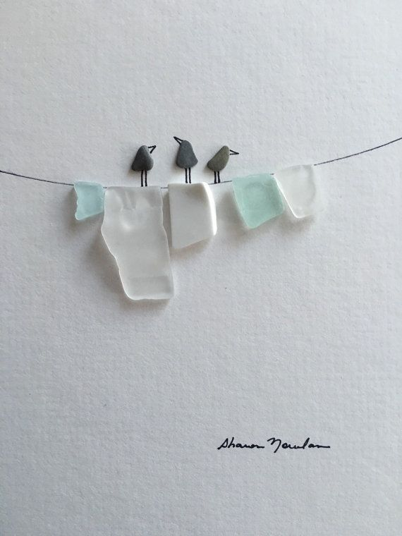 6 by 8 pebble art by sharon nowlan with seaglass laundry