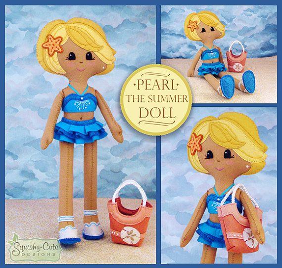 Doll Sewing Pattern PDF  Felt Rag Doll door SquishyCuteDesigns