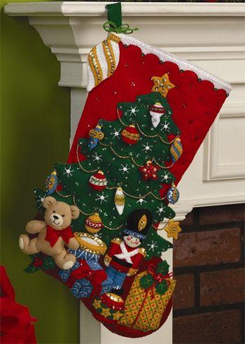 Under the Tree Christmas Stocking - Felt Applique Kit