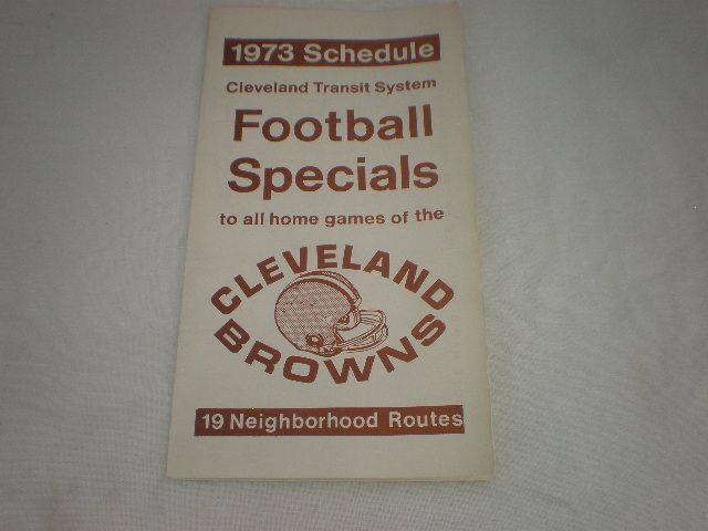 NFL Cleveland Browns 1973 Pro Football Schedule Transit Bus Routes Cleveland - http://raise.bid/store/collectibles/cleveland-football-schedule/
