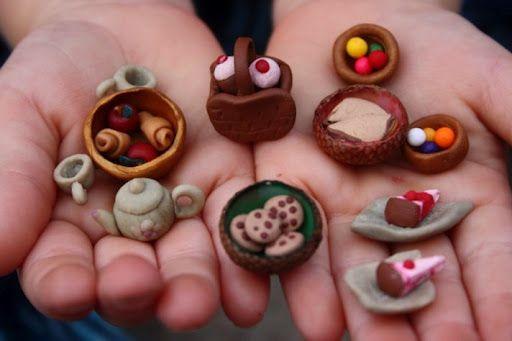tutorial for tiny items including a wagon, bird bath, garden veggies and tools.