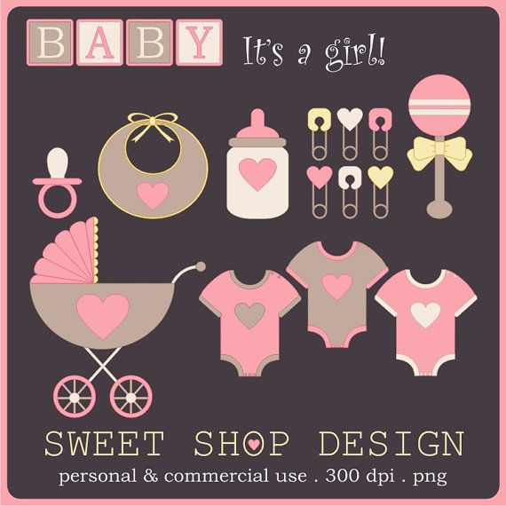 Baby Shower Clip Art, Baby Girl Clip Art, Royalty Free Clipart, Instant Download by SweetShopDesign, $4.95