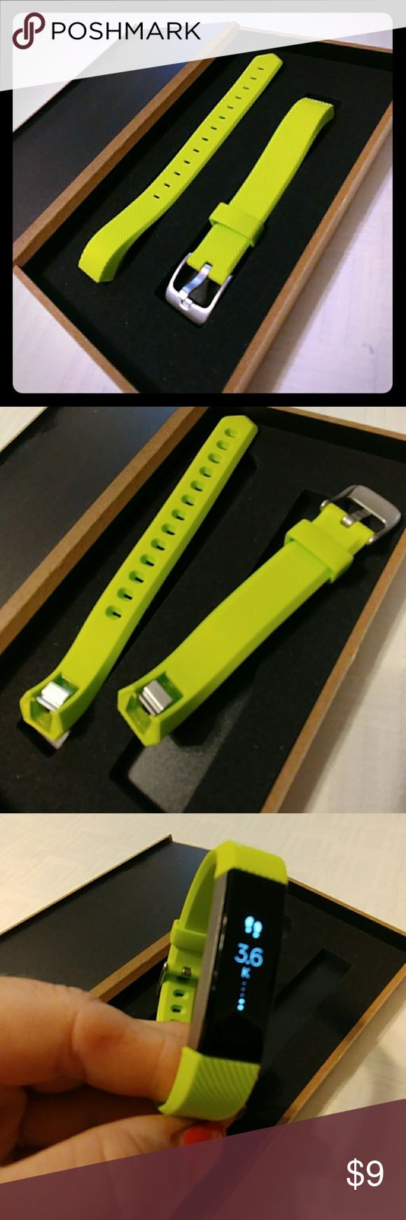"""Alta HR or regular green adjustable wristband Do you like to update your Alta fit bit band to accent your fashion? New green apple alta soft wrist band with secure silver buckle. Adjusts to fit large or small wrists 5.5"""" - 8.3"""". Integrated skip proof clip. Original buckle design, easy to install and remove. Box not included. EPYSN Accessories Watches"""
