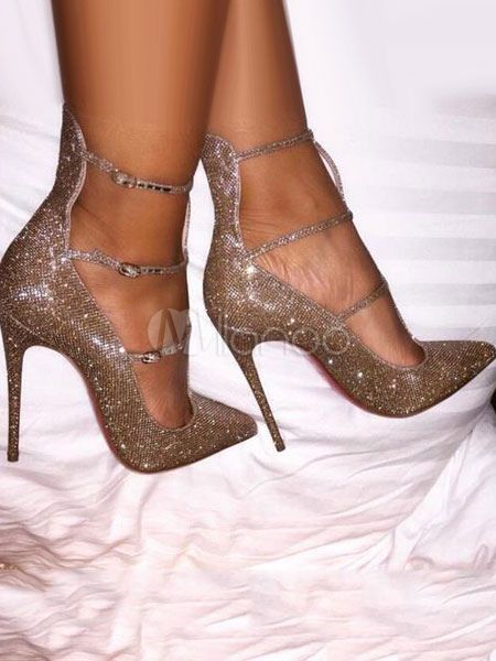 a5bbd505cc75 Gold Evening Shoes Pointed Toe Stiletto Heel Sequined Pumps For Women