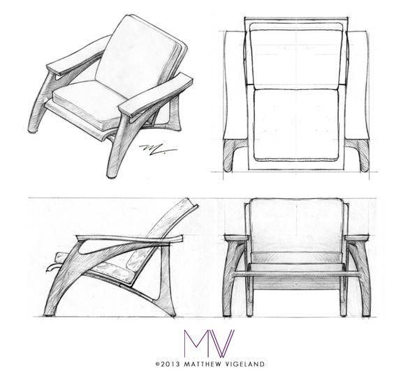 Serif Lounge Chair Concept Drawing By Matthew Vigeland Via Behance