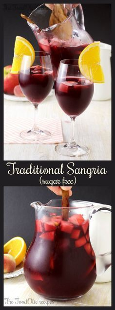 An authentic Sangria Española without sugar, with diced apple, peach and orange, plus a little fizz in the end to make it extra festive! #sangria #spain #drinks