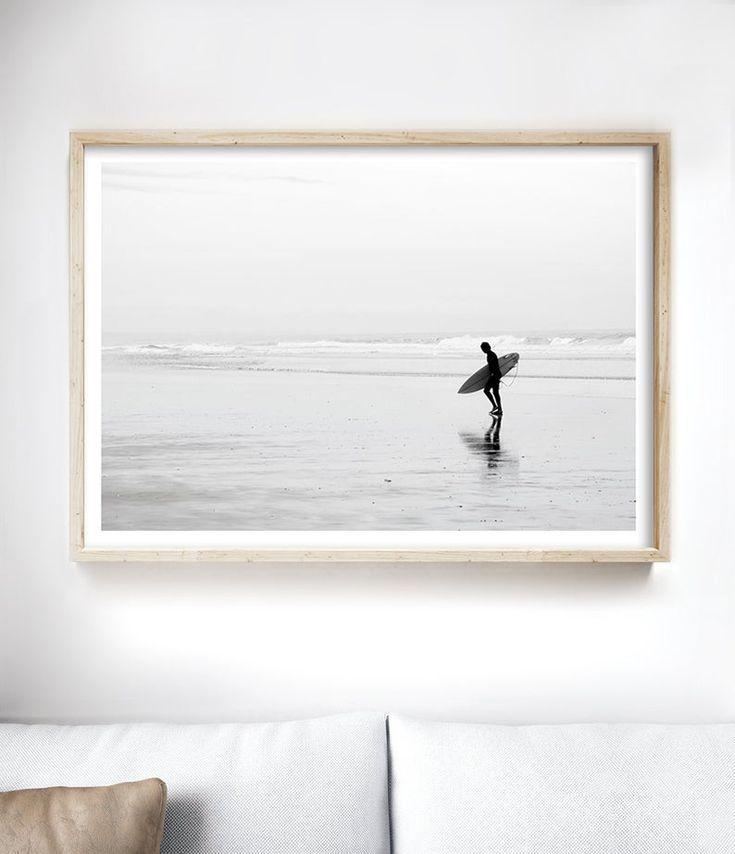 beautiful beach printable photography ocean waves minimalist beach art coastal print boho bw art beach waves surf photo ocean print