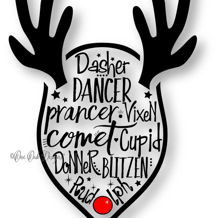 Cute Reindeer Names with antlers cut file. Perfect for kids' shirts or Onesies!