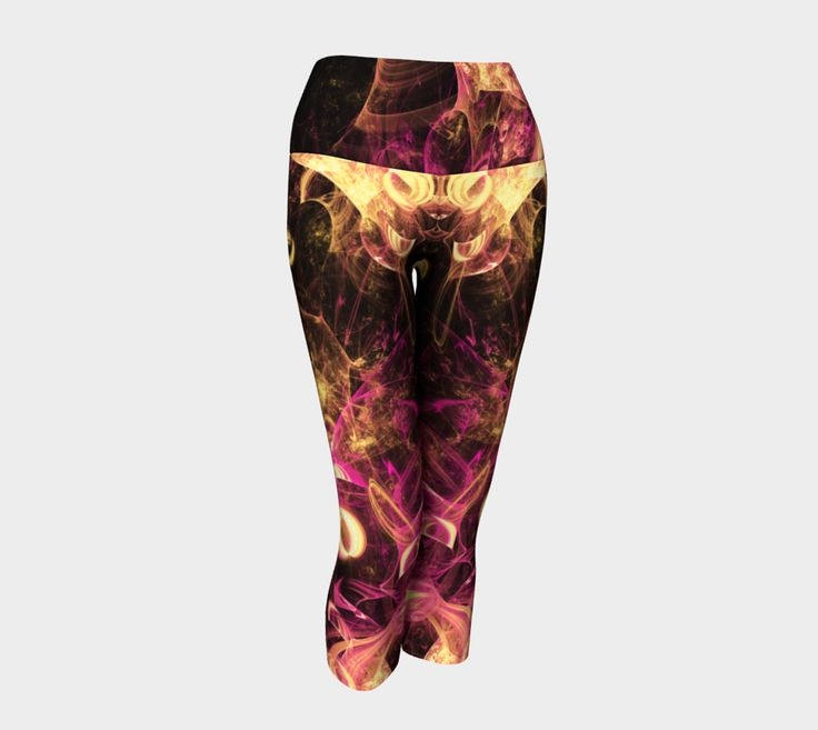"Yoga+Capris+""Gold+and+pink+curling+fractal+yoga+capris""+by+Tracey+Lee+Everington+"