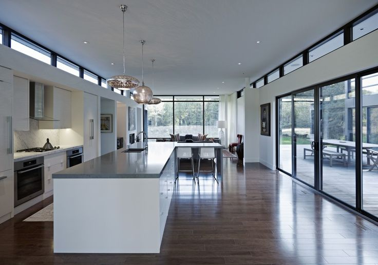 Modern kitchen with white cabinets large sliding doors for Modern house kitchen