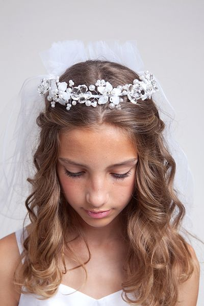 Gorgeous floral headdress with sprays of delicate faux pearls and satin and crystal flowers with a beautiful communion veil already attached Delivery