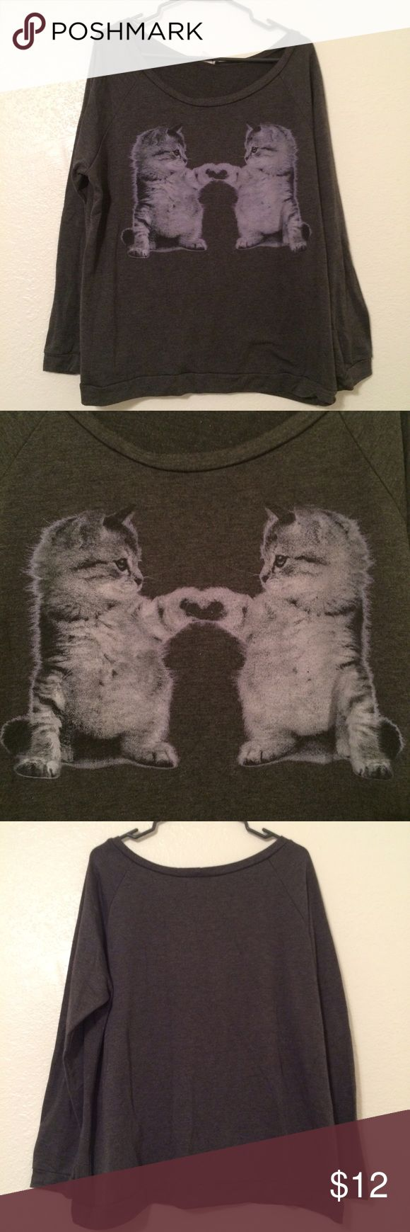 Deb shops Jr plus 3x grey cat kitten sweatshirt Deb brand. Juniors plus size 3x. Good used condition! Lightweight sweatshirt with scoop neck. Features mirrored kittens touching paws! Make me an offer! Deb Tops Sweatshirts & Hoodies