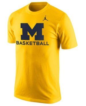 Nike Men's Michigan Wolverines Basketball University T-Shirt - Yellow L