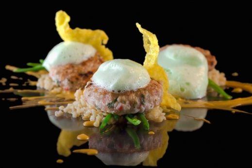 Crab burgers, corn risotto , wasabi foam