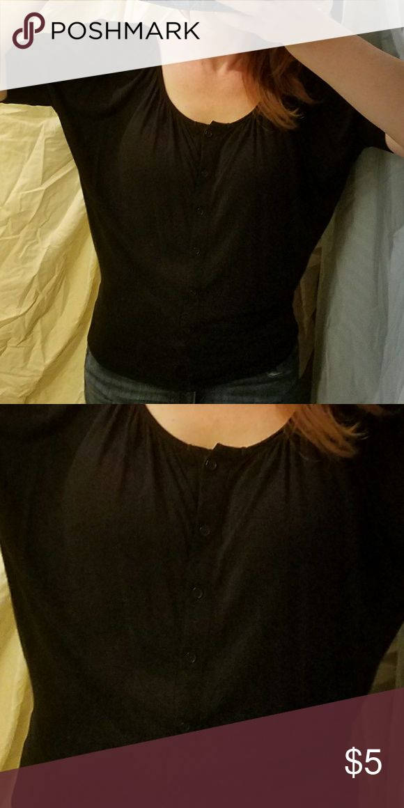 Buttons down center. Black 3/4 sleeve. Very nice. Great condition! Tops Tees - Short Sleeve