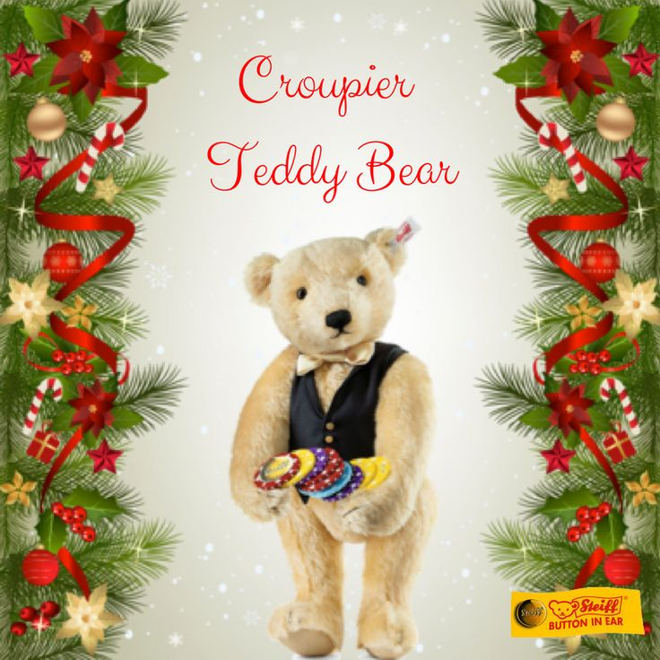 The Croupier Teddy Bear holds unique roulette chips with an imprinted Steiff button. His black fabric waistcoat with three gold buttons and the white satin bow tie contrast elegantly with the fine, blond colored mohair. #Steiff #25DaysofChristmas #Croupier #TeddyBear