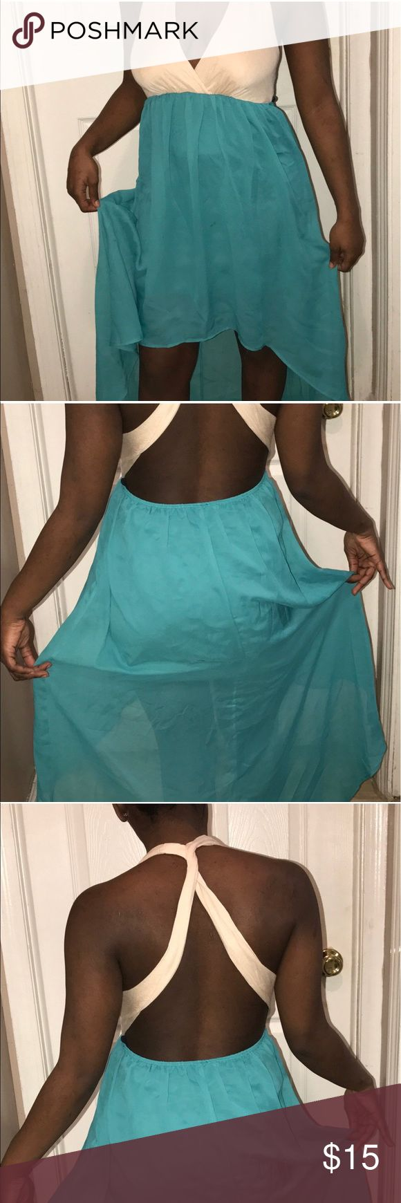 Maxi dress ✨✨ Attention ladies ✨✨ this a beautiful Mezzanine tan and turquoise maxi dress. The lower part of the dress is sheer with a half slip underneath . 💃🏿💃🏿Worn only once! #maxidress #maxi #women Dresses Maxi