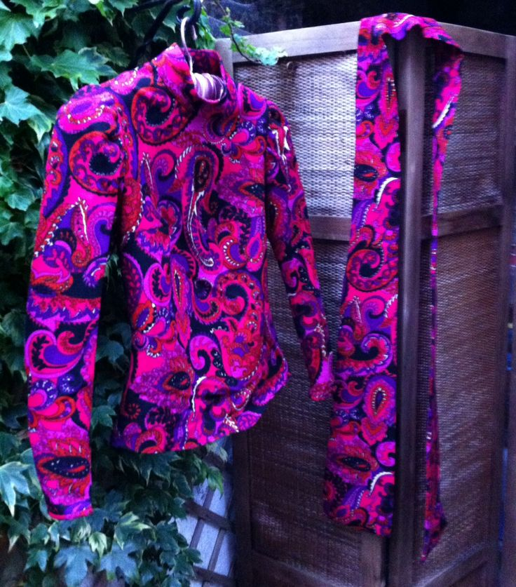 70s Purple/Pink Paisley Top & Scarf (UK 8/10)