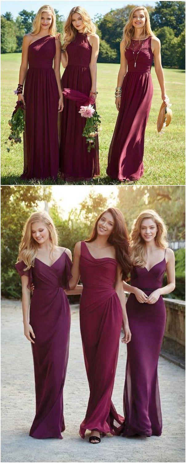 55 Burgundy Bridesmaid Dresses for Fall Winter Weddings #dresses #fall weddings #fall #bridesmaid