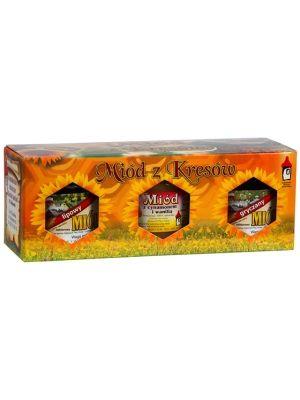 BARTNIK SOKÓLSKI 3x250g Miód z kresów lipowy, gryczany, z cynamonem i wanilią
